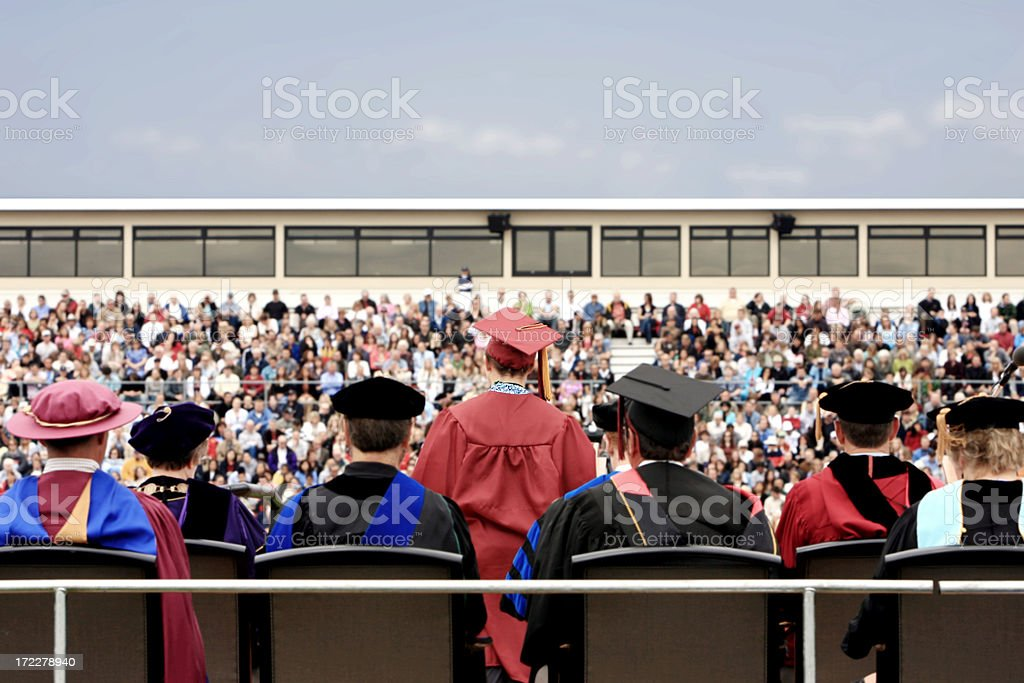 Back of College Graduation Ceremony with Crowd, Copy Space stock photo