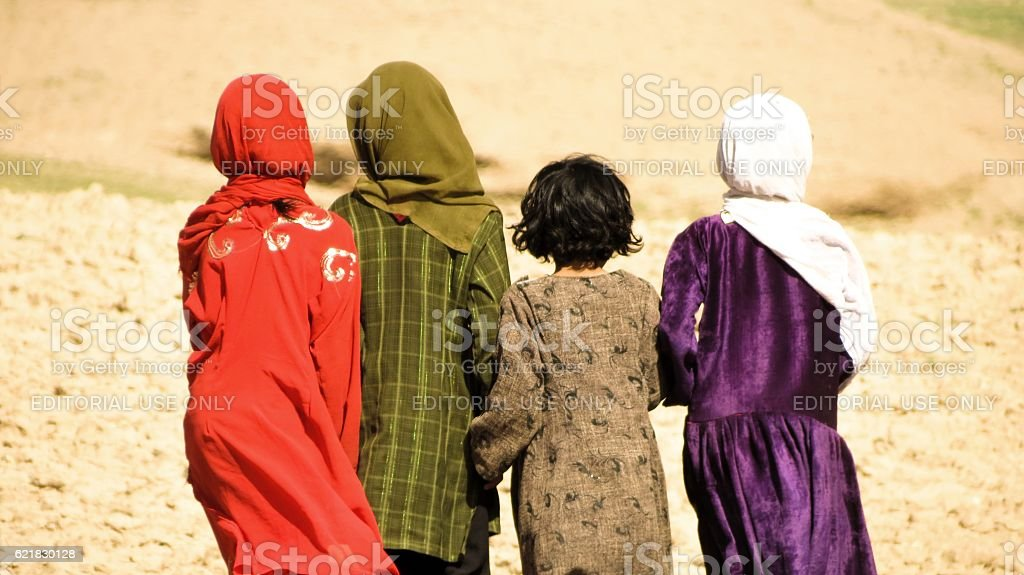 Back of four Afghanistan girls stock photo