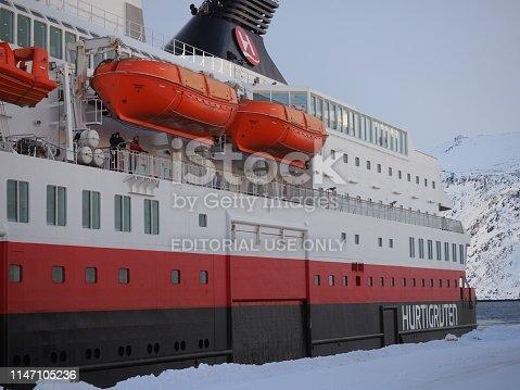 Honningsvag, Mageroya island, Finnmark county, Norway, 10 march 2019 : Hurtigruten (