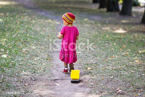 1045032684 istock photo Back of little girl going away in summer park 1175282870