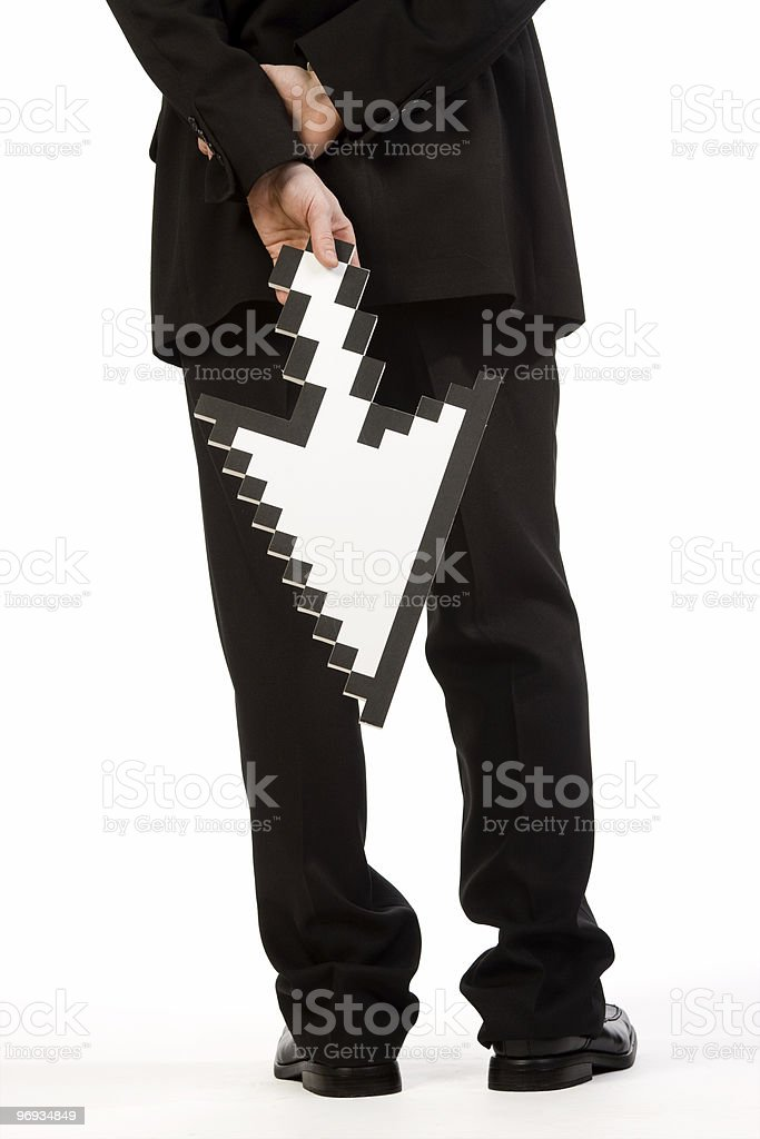 Back of man holding pointer royalty-free stock photo