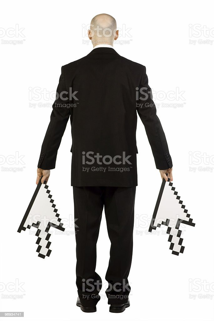 Back of man holding pointers royalty-free stock photo