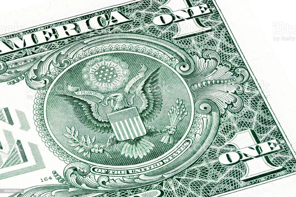 Back of one dollar bill. Stacked macro photo stock photo