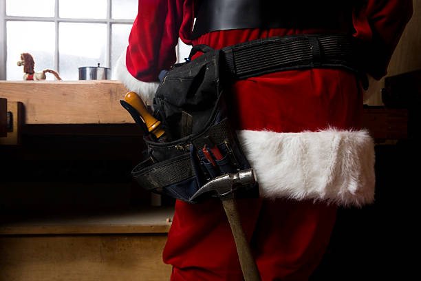 Back of Santa Claus with Utility Belt Horizontal, Copy Space stock photo