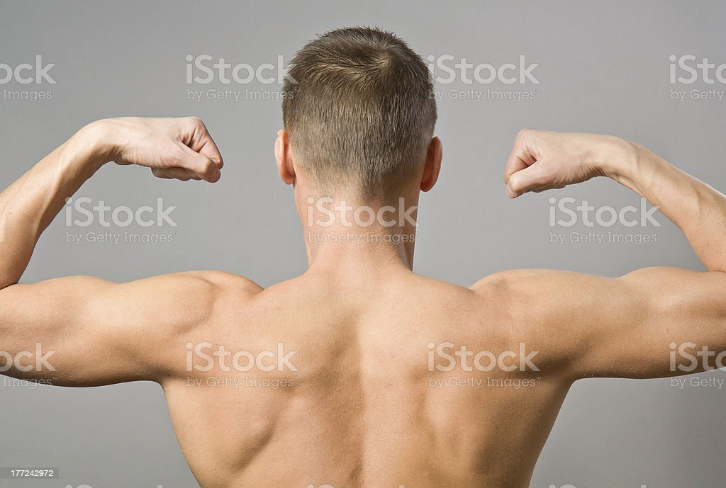 Back of sexy muscular man royalty-free stock photo