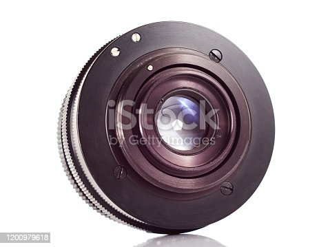 Back of SLR camera lens on white background