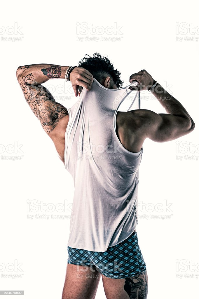 Back of strong and healthy young man stock photo