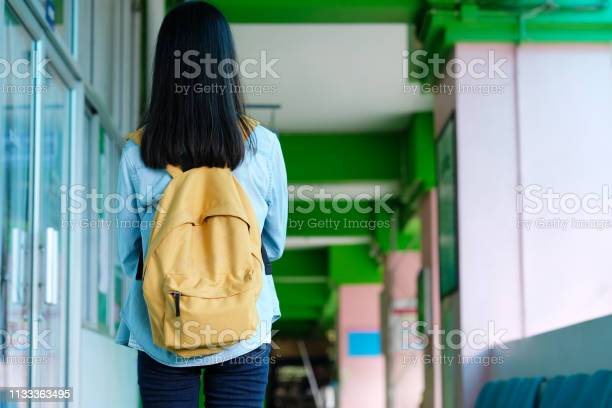 Back of student girl holding books and carry school bag while walking picture id1133363495?b=1&k=6&m=1133363495&s=612x612&h=n0aftpmlyzi 97ndikliicxfiff6icbvfytaklar6zc=