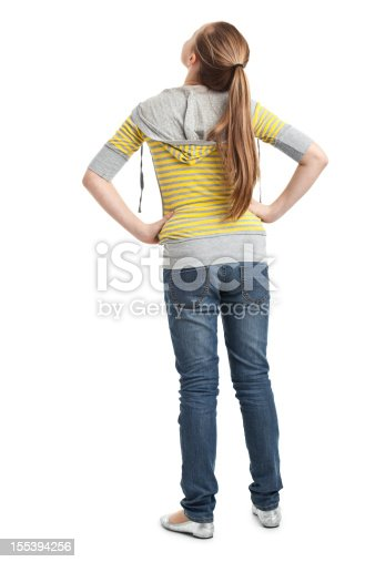 back of teenager girl isolated on white