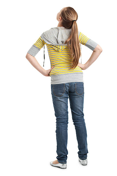 back of teenager girl - rear view stock photos and pictures