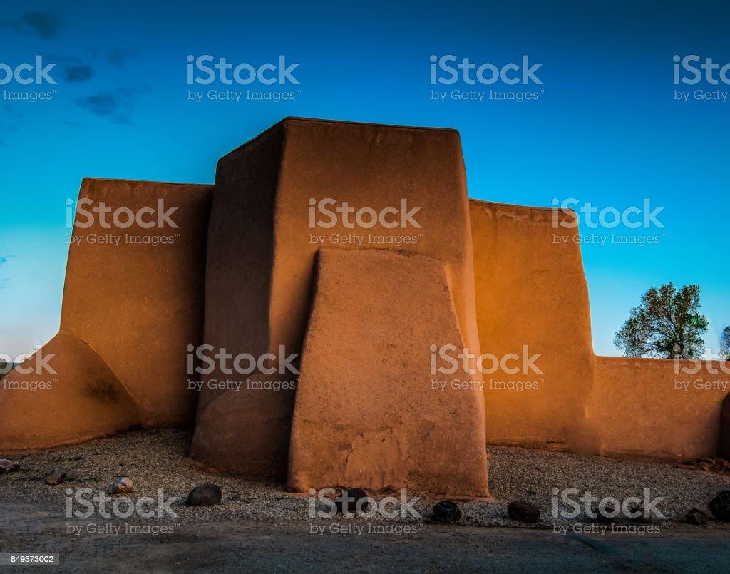 Back of the church at Rancho de Taos stock photo