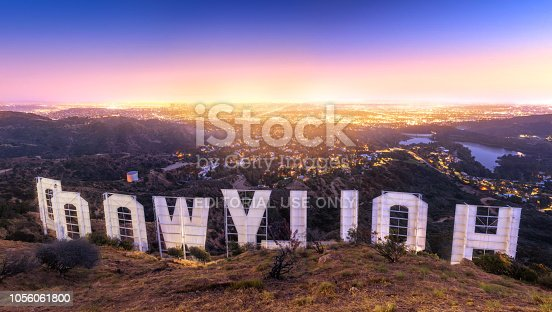 LOS ANGELES , USA - JUNE 14, 2018 - Back of the Hollywood sign at sunset