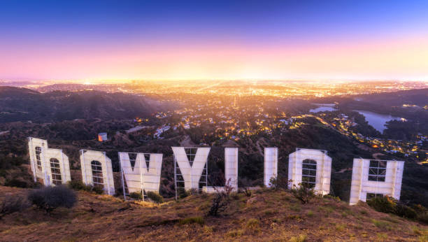 LOS ANGELES , USA - JUNE 14, 2018 - Back of the Hollywood sign at sunset LOS ANGELES , USA - JUNE 14, 2018 - Back of the Hollywood sign at sunset hollywood california stock pictures, royalty-free photos & images