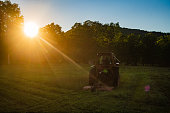 istock Back of Tractor Cutting a Hayfield 1256546507