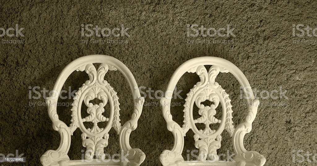 Back of two baroque chairs royalty-free stock photo