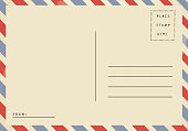 Back of vintage blank airmail postcard