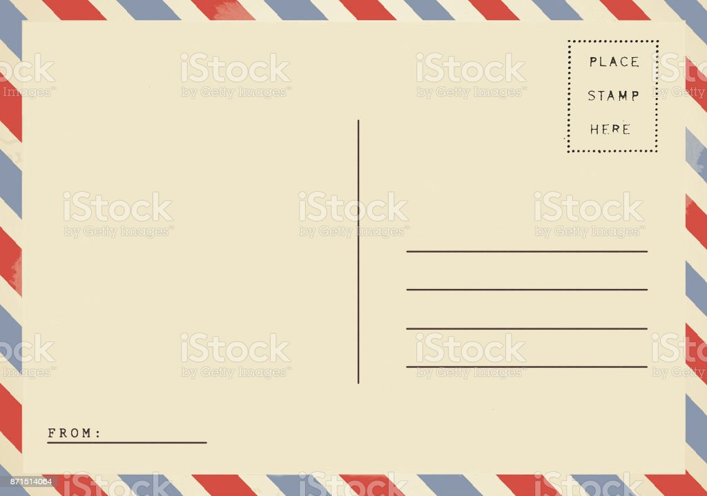 Back of vintage blank airmail postcard stock photo