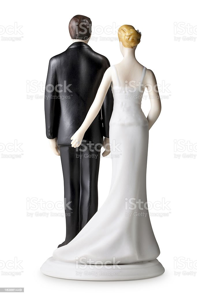Back of wedding cake topper stock photo