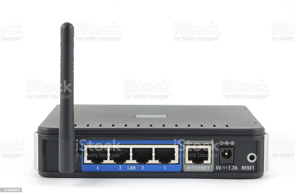 Back of wireless router royalty-free stock photo