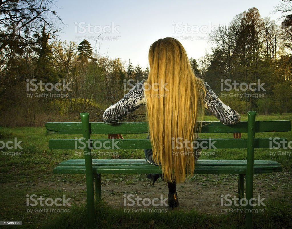 Back of woman sitting alone on park bench royalty-free stock photo