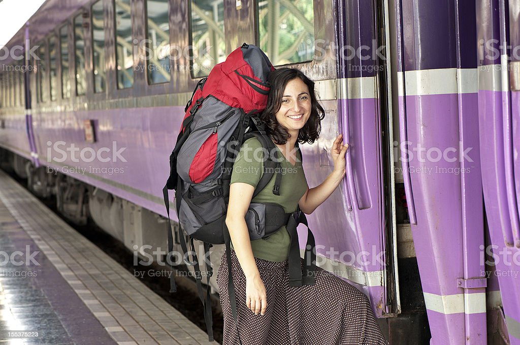 Back Packer On The Train royalty-free stock photo