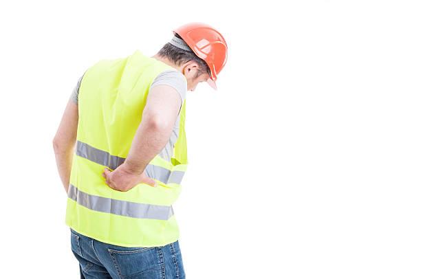 back pain concept with constructor with torso injury - parte inferior - fotografias e filmes do acervo