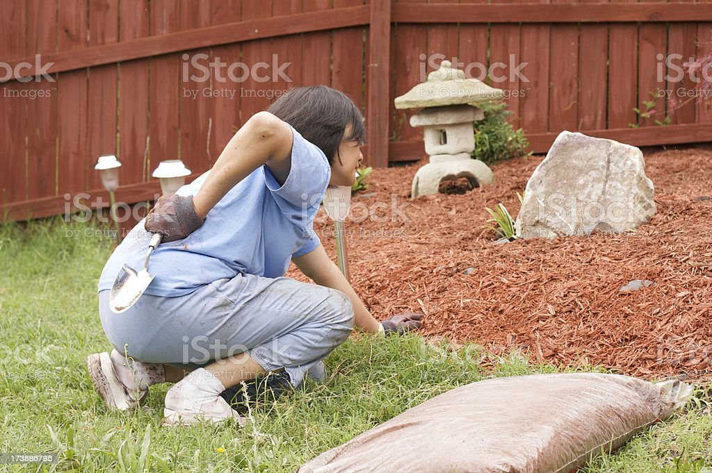 back pain gardening royalty-free stock photo