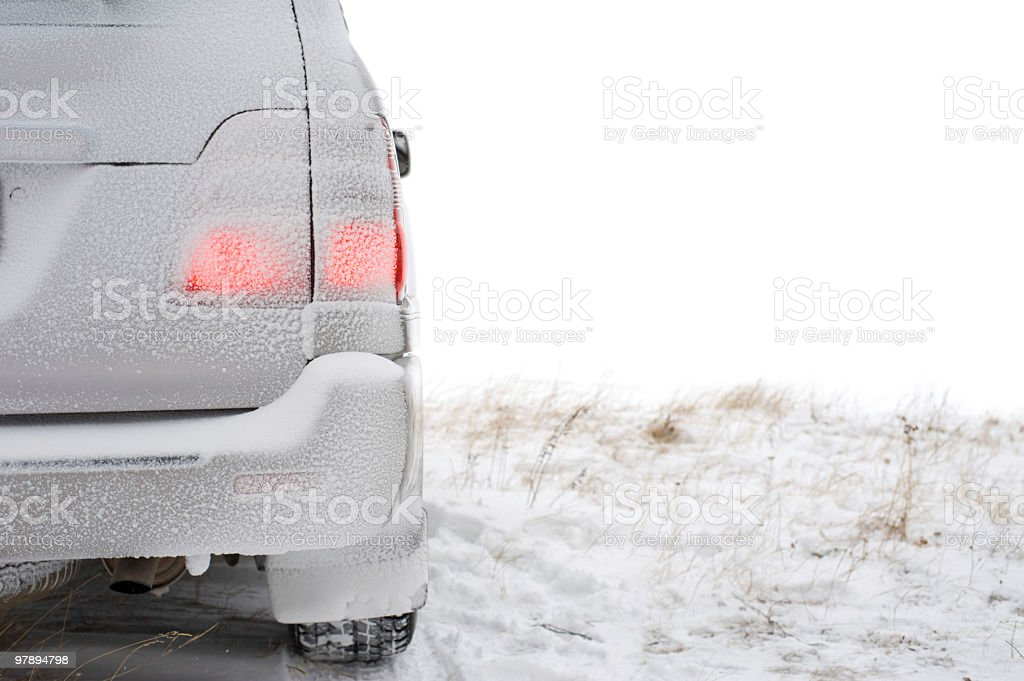 back part of car in winter royalty-free stock photo