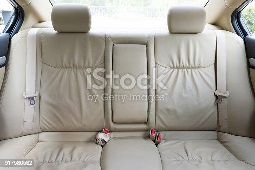 istock Back passenger seats in modern luxury car 917580582