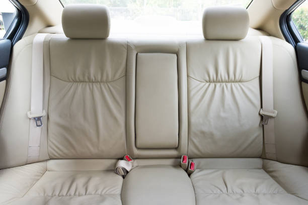 Back passenger seats in modern luxury car stock photo