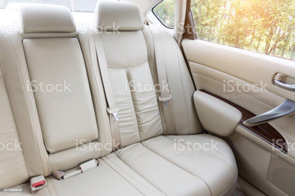Back passenger seats in modern luxury car stock photo