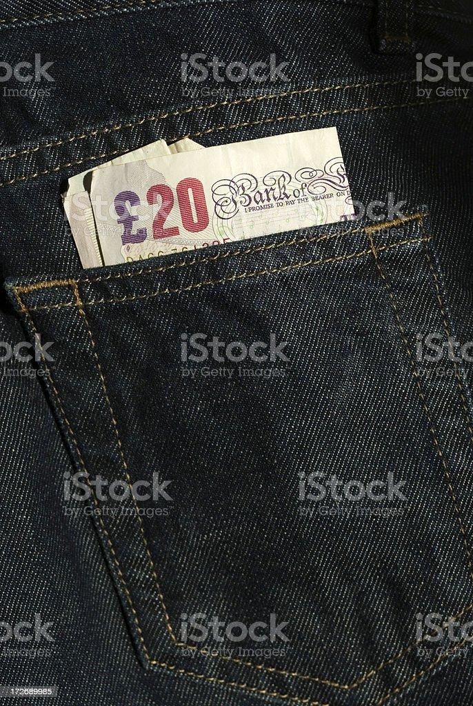 back pocket money. stock photo