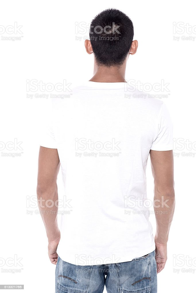 Back pose of a young man stock photo