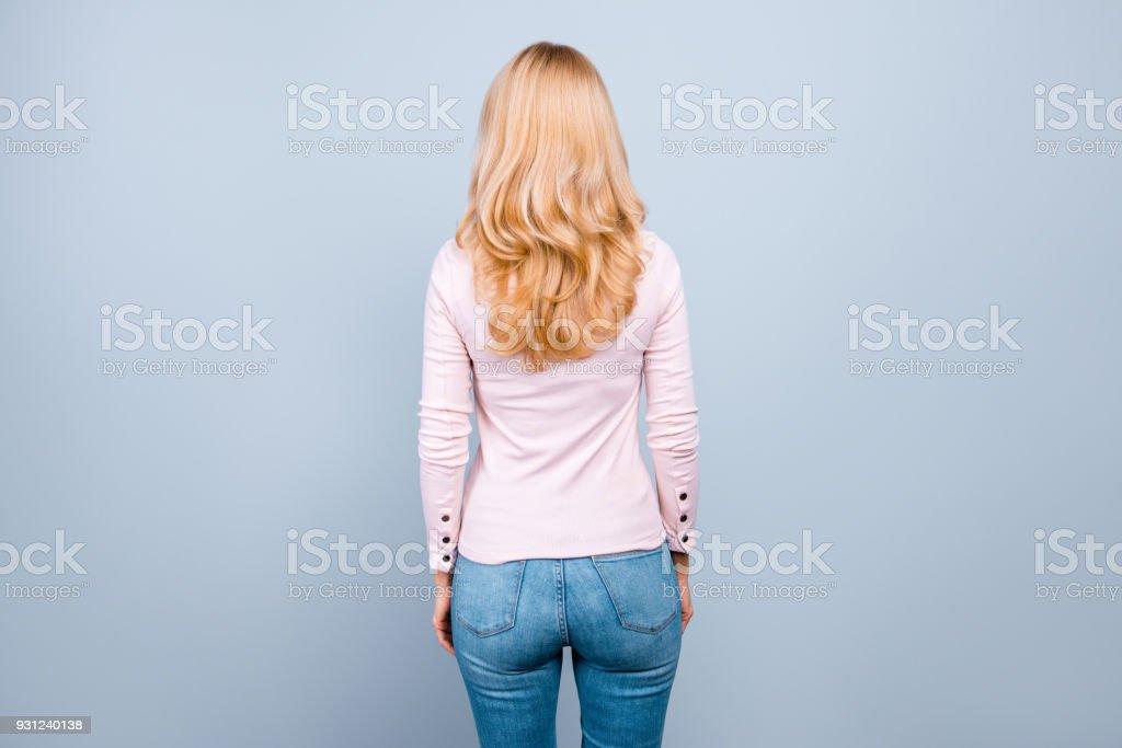 Back rear view photo of beautiful successful professional wearing...