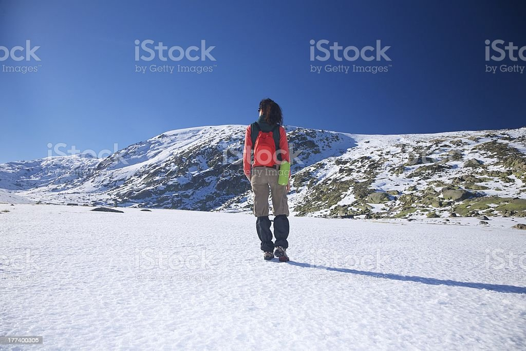 back red hiking woman stock photo