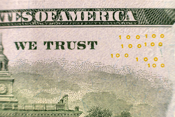 back reserve side detail of american national currency banknote dollars bills. symbol of wealth and prosperity. in god we trust words. - watermark stock photos and pictures