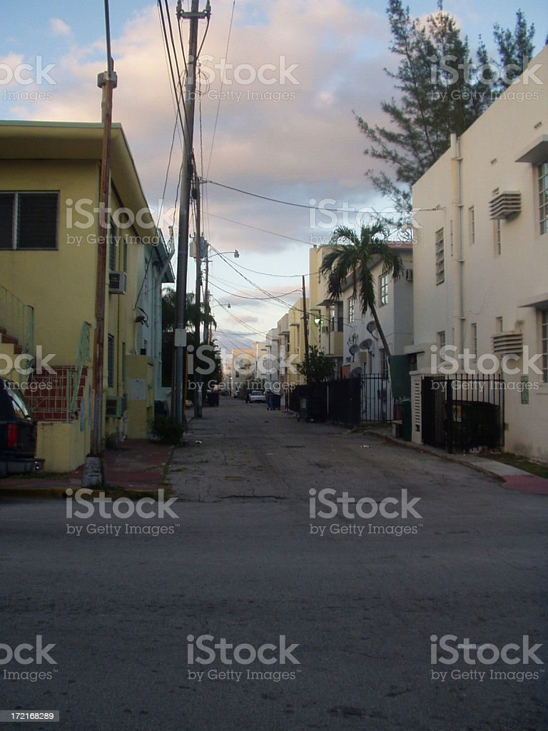 back road in south beach royalty-free stock photo