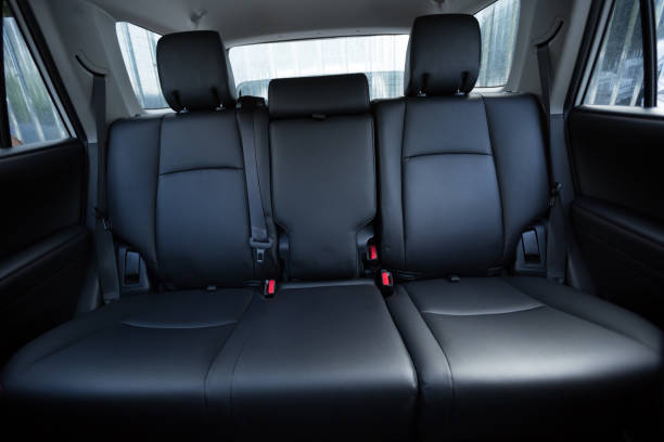 Back seat interior of a luxury car stock photo