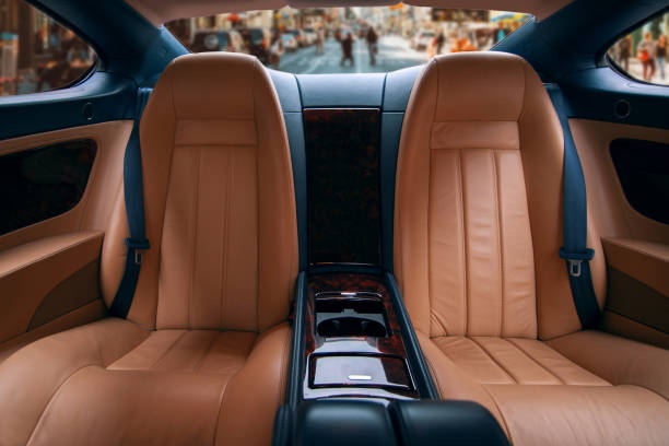 Back seats of luxury car stock photo