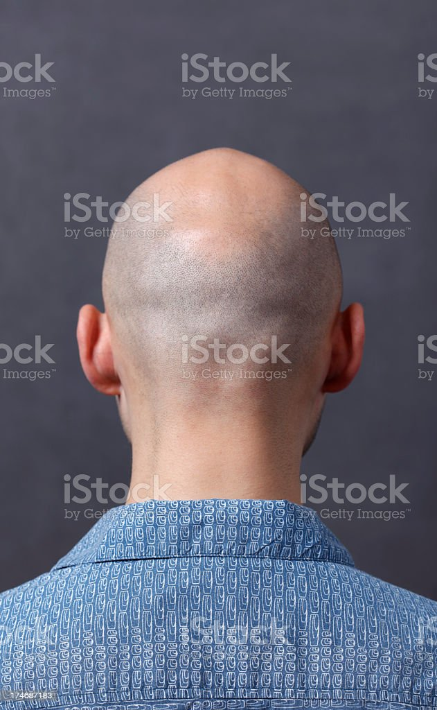 Back shaven head of man stock photo