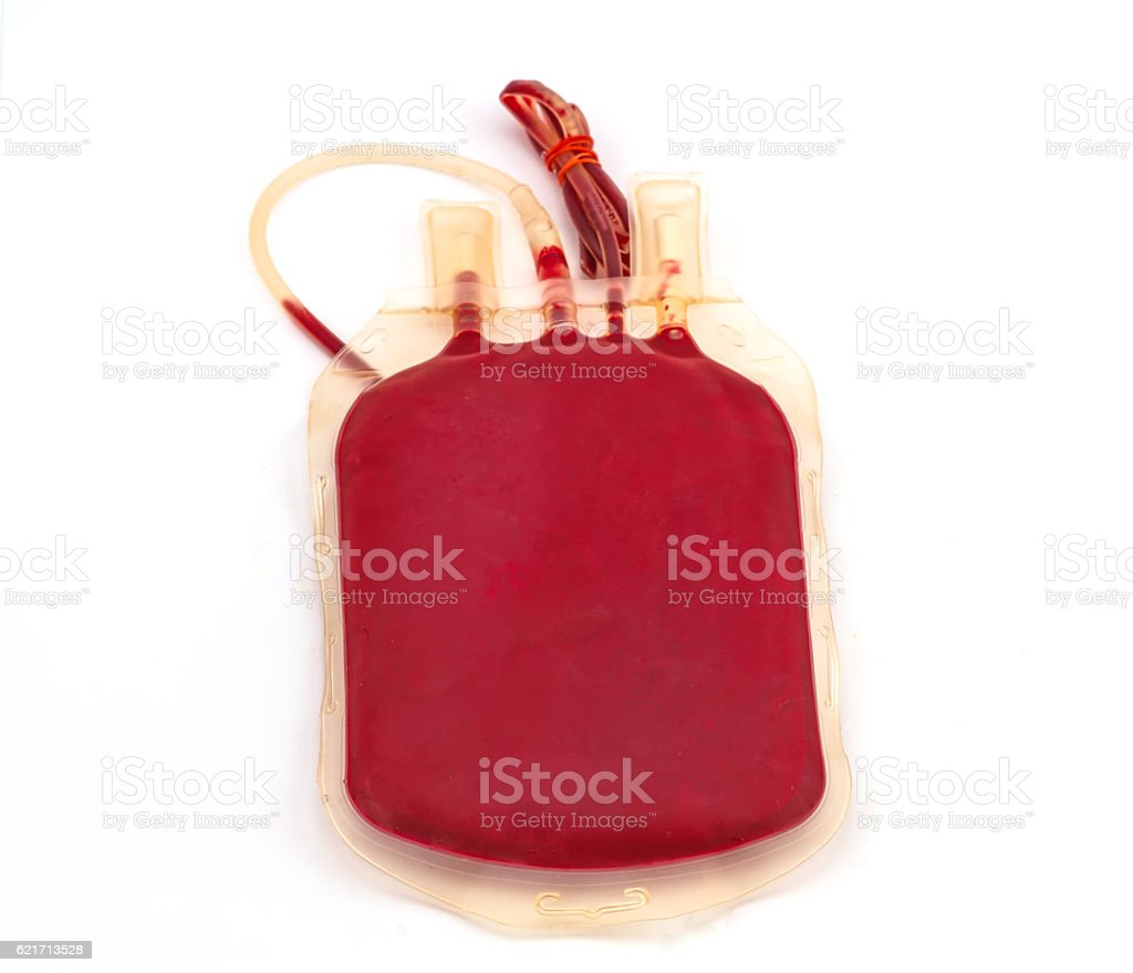 Back side bag of blood and plasma  on white stock photo