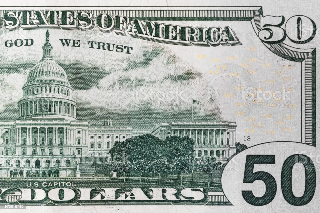 back side of 50 dollar bill stock photo