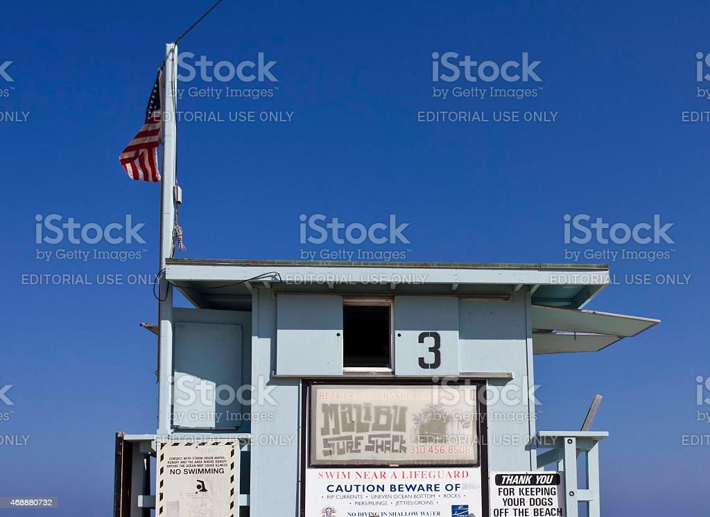 Back side of a Life Guard Tower in Malibu Beach stock photo