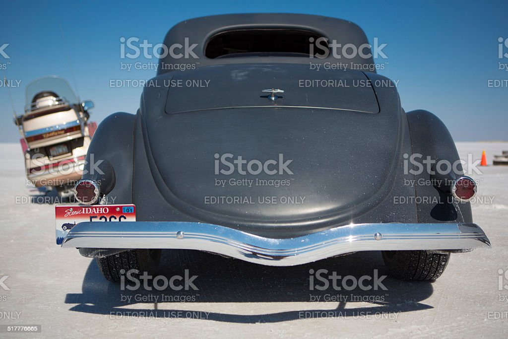 Back side of an American Hot Rod painted in black stock photo