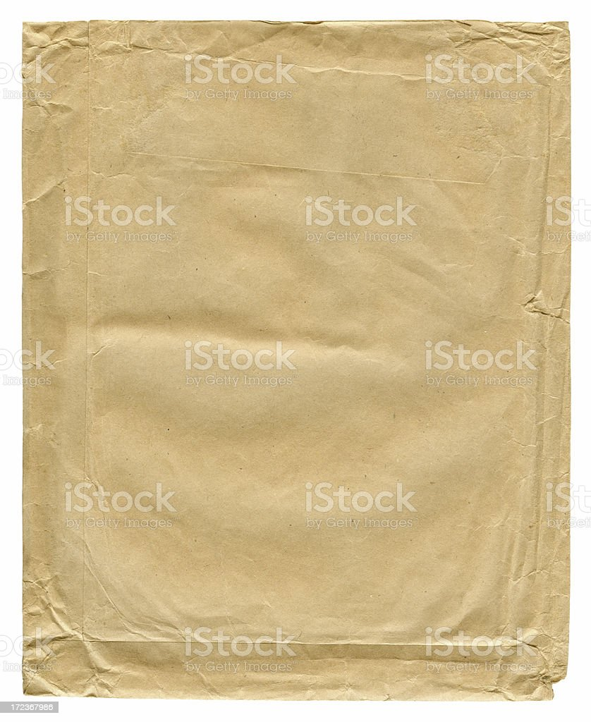 back side of an old stained blank vintage envelope stock photo