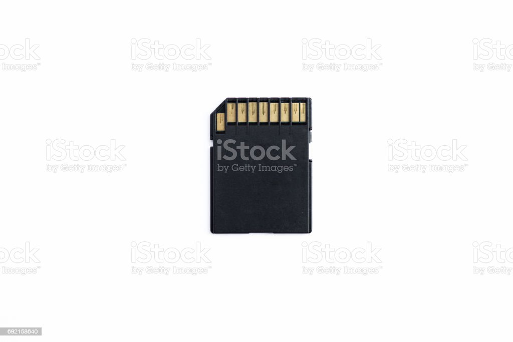 Back side of black SD memory card stock photo