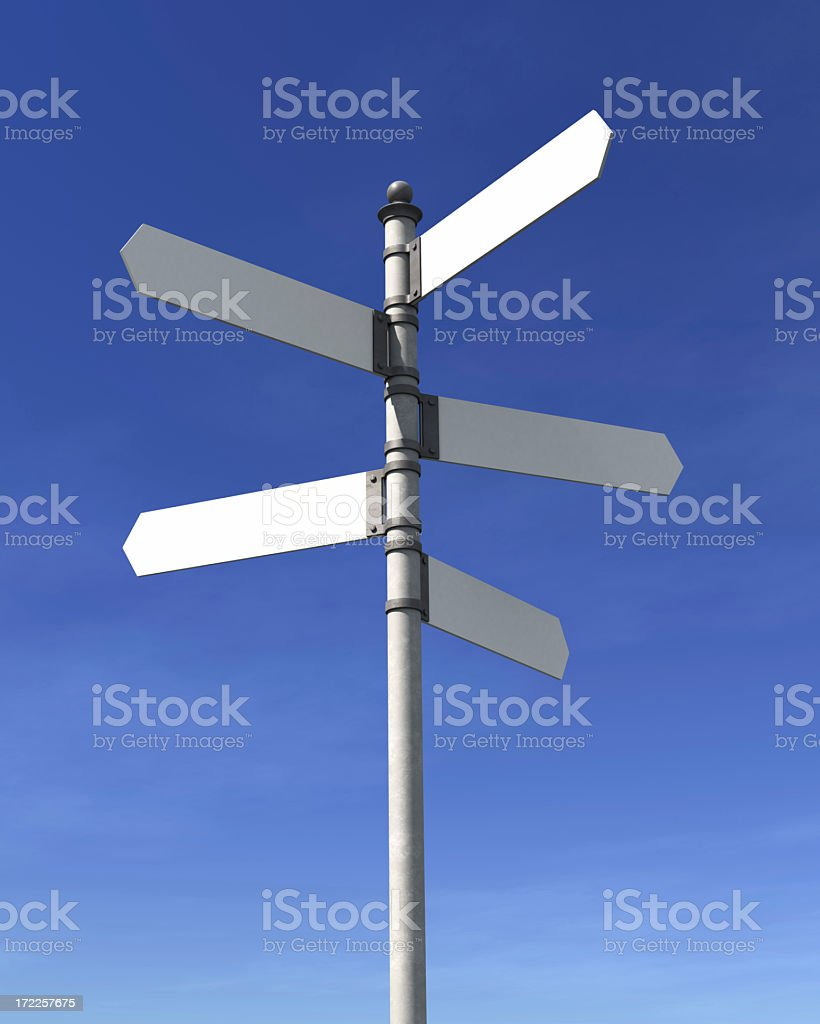 Back signpost pointing in different directions royalty-free stock photo