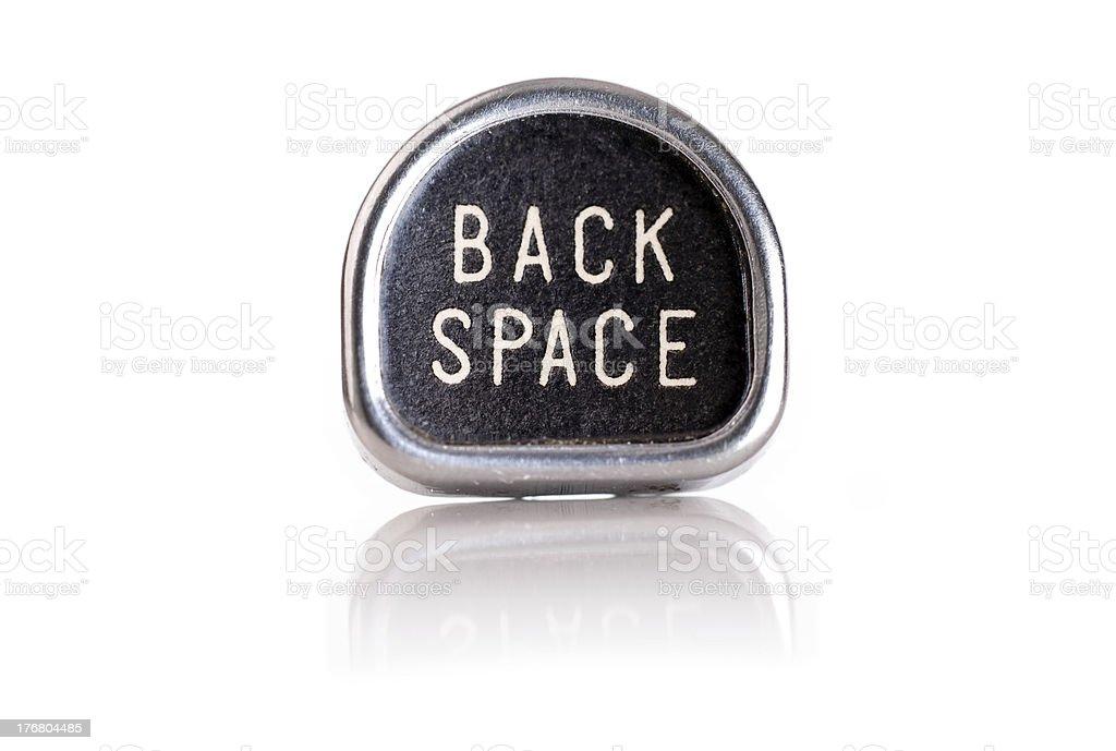 Back Space Key on Antique Typewriter royalty-free stock photo