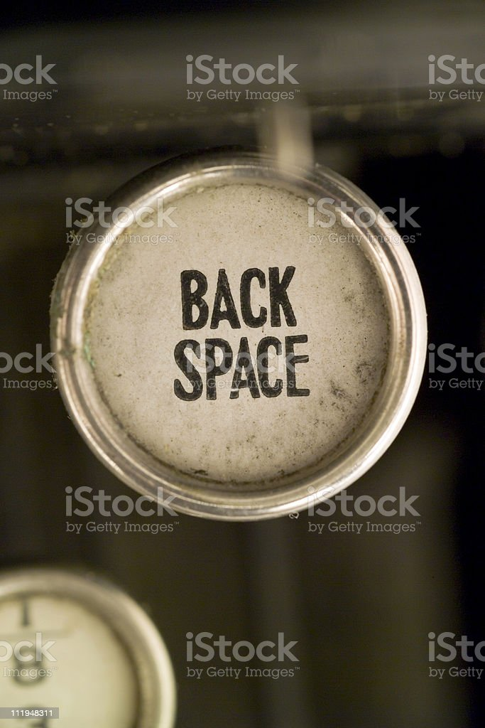 Back Space on a old typewriter keyboard royalty-free stock photo