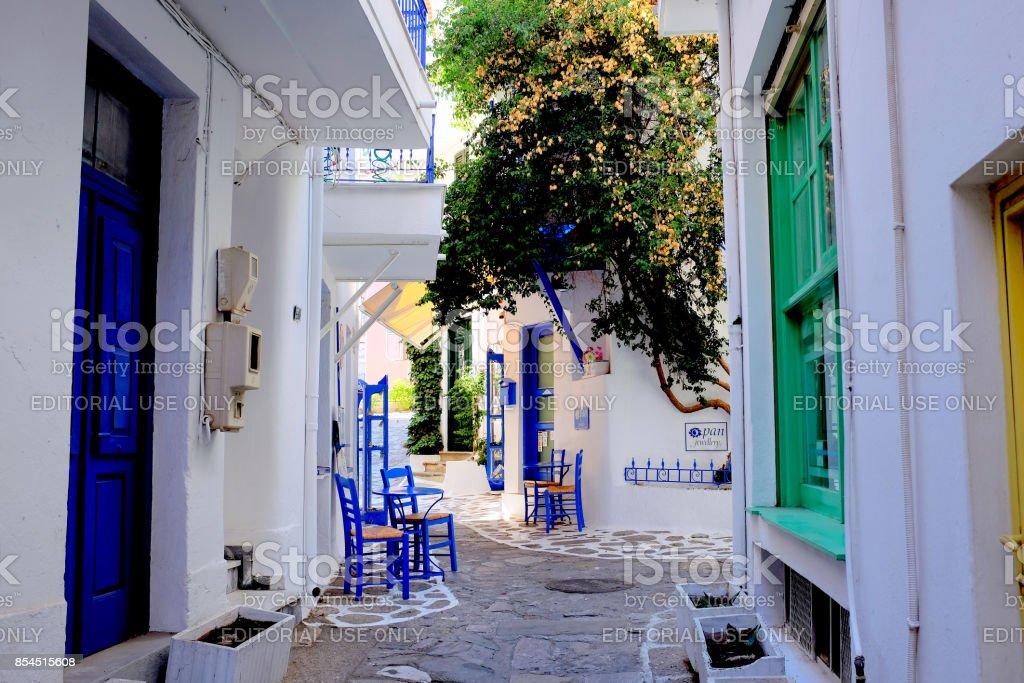 Back streets, Skiathos, Greece. stock photo